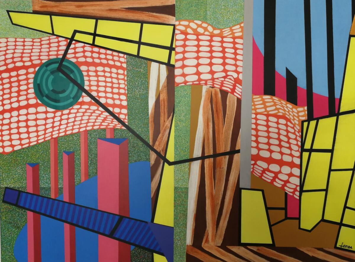 Luciano Lombardi, artista Presenteista, Strutture urbane acrilico su tela, cm 60x80, 2019, Collezione Lucrezia Rubini presso Museo Magni a Velle